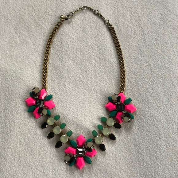 J. Crew Jewelry - J Crew Pink and Green Gems Statement Necklace